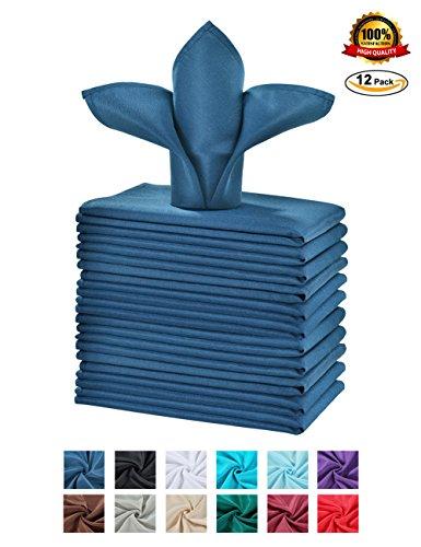 Cieltown Polyester Cloth Napkins 1-Dozen (17 x 17-Inch, navy blue)