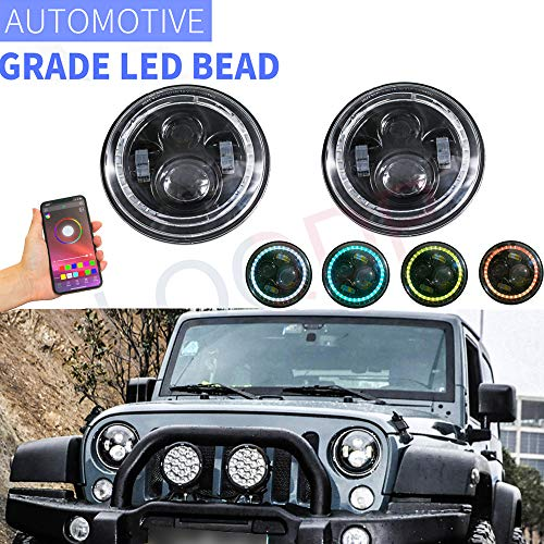 "LQQDP 2pcs 7"" Round H6024/H6017/6015/6014/6012 Conversion Kit RGB Multi Color DRL Amber Turn Signal White High/Low Beam LED Halo Angel Eye Projector Headlights Assembly+Bluetooth Controller+Canbus"