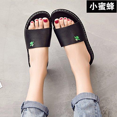ZPPZZP Ms sandali pantofole indossa selvatici piana scanalata stile Coreano 38EU nero