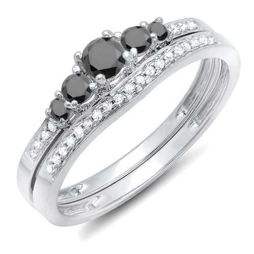 (Dazzlingrock Collection 0.45 Carat (ctw) 14k Round Black And White Diamond Ladies 5 Stone Bridal Engagement Ring Matching Band Set 1/2 CT, White Gold, Size 7)