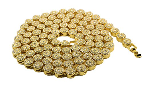 24K Gold Plated Hip Hop Iced Out Cluster Chain With CZ Diamonds