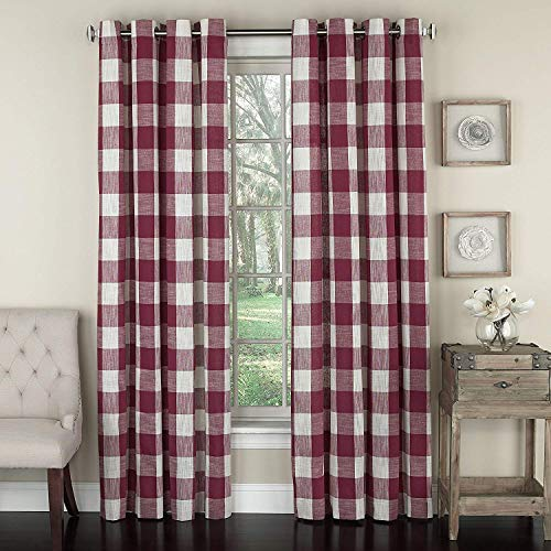 Lorraine Home Fashions 09570-84-00148 RED Courtyard Grommet Window Curtain Panel, Red, 53
