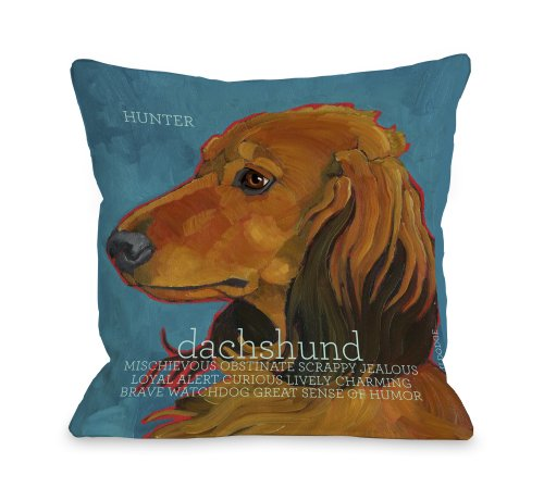 One Bella Casa Daschund 4 Throw Pillow, 26 by 26-Inch