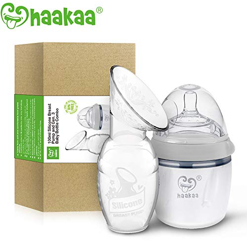 Haakaa Manual Breast Pump with Milk Bottle for Breastfeeding 100% Food Grade Silicone BPA PVC and Phthalate Free (4oz/100ml Pump + 160ml Milk Bottle) ()