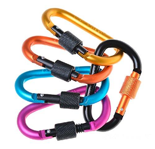 5 Stück Aluminium Zubehör Karabiner D-Ring Schlüsselanhänger Clip Karabinerhaken für Outdoor Camping Wandern zufällige Farbe