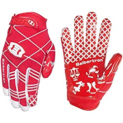 Seibertron Pro 3.0 Twelve Constellations Elite Ultra-Stick Sports Receiver Glove Football Gloves Youth Red XL