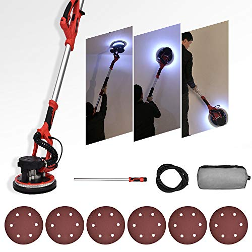 FULLWATT 800W Electric Drywall Sander 6 Variable Speed with Auto Dust Collection System and 6 Sand Pads Drywall Vacuum