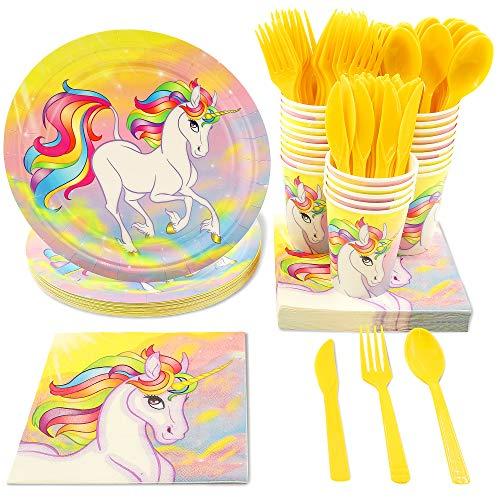 Juvale 144 Piece Suministros Unicorn Party (para 24) – Incluye Platos, servilletas, Vasos, Tenedores, cucharas y Cuchillos