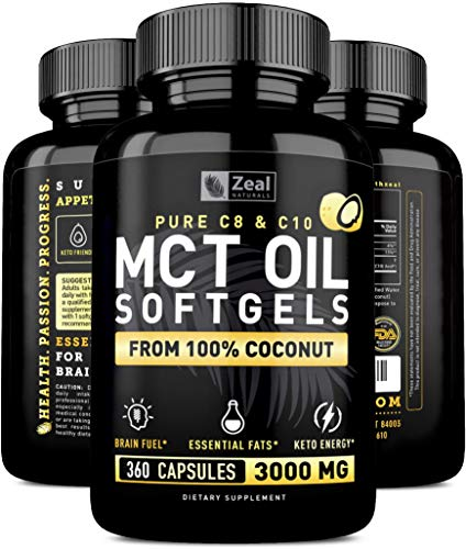 Pure MCT Oil Capsules (360 Softgels | 3000mg) 4 Month Supply MCT Oil Keto Pills w Unrefined Coconut Oil - C10 & C8 MCT Oil Coconut Oil Capsules - Keto Brain Fuel, Keto Energy, Octane Oil Ketosis Pills (Best Mct Oil Supplement)