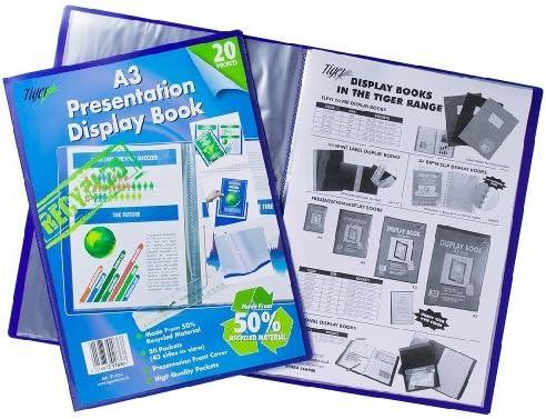 Tiger A3 Eco Friendly Bio Recycled Display Book Presentation Folder Blue Portfolio