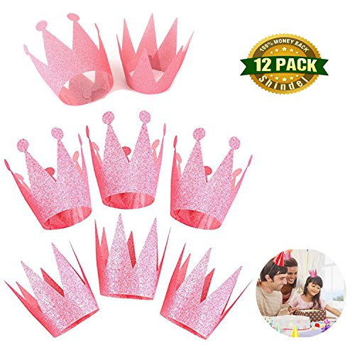 Crowning Baby Costume (Crown Hats , Kids First Birthday Party Crown with Ribbon and Elastic rope for Party Decorations Supplies ( Pink).12 PCS)