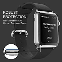 Vanford - Apple Watch Screen Protector (Series 3 / 2 / 1 Compatible) Full Coverage 3D Curved Edge Tempered Glass Screen Protector for Apple Watch (42 mm) by Vanford