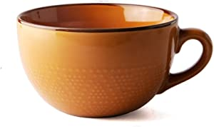 Smooth Ceramic Mug, Soup Mug and Cereal Cup Wide With Handle For Hot and Cold Drink for Home, Yellow-Brown (Dot Pattern)