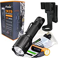 Fenix TK25IR 1000 Lumens white / 3000mW Infrared (IR) Dual Beam LED Flashlight (TK25 IR)rechargeable kit w EdisonBright USB cable and belt clip