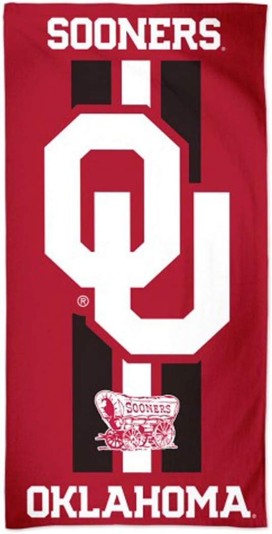 WinCraft Oklahoma Sooners Game Day Stripes Beach Dorm Fiber Towel, 60 x 30 inches