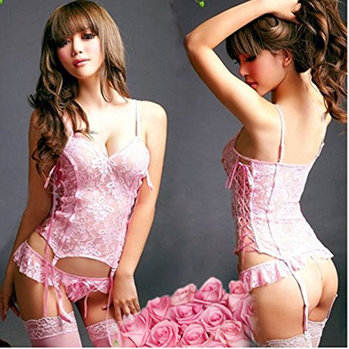 Zlimio New Sexy Mermaid Lingerie Set Pink Lace Belted Corset Top With G-String and Stocking