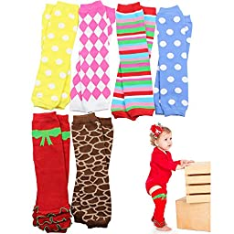 6 Pack Baby & toddler Girls juDanzy leg warmers dots, diamonds, stripes, etc