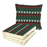iPrint Quilt Dual-Use Pillow Skulls Decorations Mexican Folk Art Skulls and Roses Knitted Pattern Multifunctional Air-Conditioning Quilt