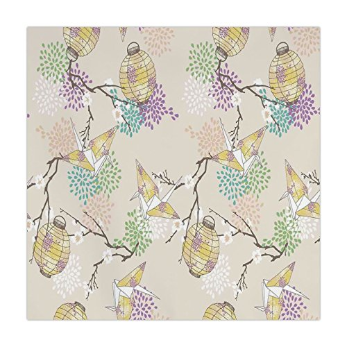 iPrint Satin Square Tablecloth,Lantern,Colorful Origami Cranes Paper Lanterns with Branches and Flowers Culture Decorative,Lilac Pink Beige Yellow,Dining Room Kitchen Table Cloth Cover