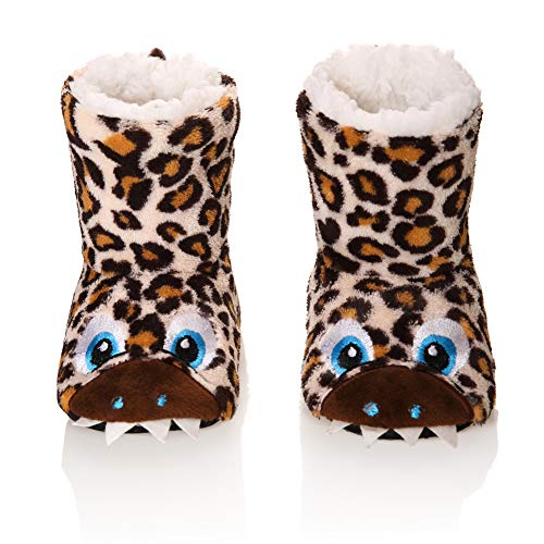(Kids Boy Girl Animal House Slipper Soft Warm Winter Plush Non-Skid Indoor Slipper Shoes Boot Socks (Brown, 2-3 Years))