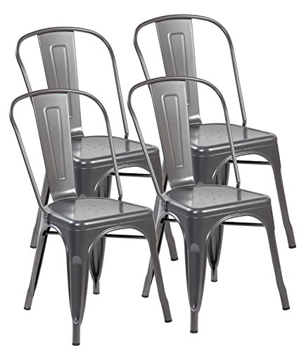 Cheap eurosports Tolix-Style Strackable Indoor Outdoor Metal Dinning Chairs with Back (Matt Silver, 4-Pack)