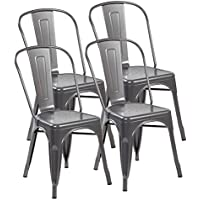 eurosports Tolix-Style Strackable Indoor Outdoor Metal Dinning Chairs with Back (Matt Silver, 4-pack)