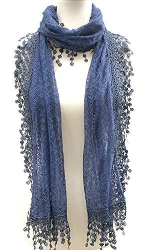 Cindy and Wendy Lightweight Soft Leaf Lace Fringes Scarf shawl for Women (Denim Blue-2)