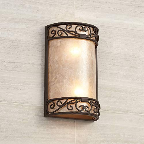 "Natural Mica Rustic Wall Light Iron Scroll 12 1/2"" Curved Sconce Fixture for Bathroom Bedroom - John Timberland"