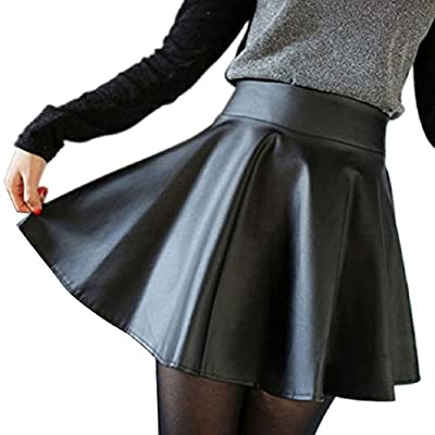 ABC(TM) Women Faux Leather High Waist Skater Flared Pleated Short Mini Skirt (Asia M)