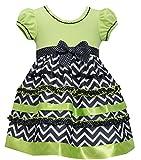 Bonnie Jean Girls Multi Tier Chevron Dress, Lime, 2T - 4T