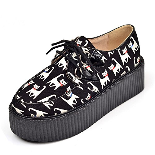 41c72639e53b5 RoseG Femmes Cuir Chat Lacets Plate forme Gothique Punk Creepers Chaussures  outlet
