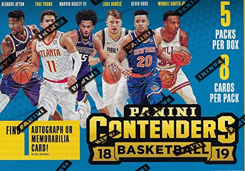 Legends Basketball Hobby Box - 2018/19 Panini CONTENDERS Basketball NBA RETAIL BLASTER Box - 5 Packs 40 Cards -1 Memorabilia or Autograph FACTORY SEALED