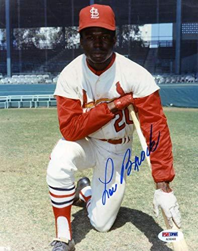 Lou Brock Autographed Photo - Coa 8x10 Authentic - PSA/DNA Certified - Autographed MLB Photos