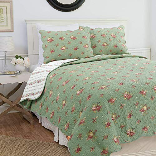 Cozy Line Home Fashions Gabriella Blooming Garden Green Floral Flower Printed Cotton Quilt Bedding Set Reversible Coverlet Bedspread Gifts for Women (Green Floral, Queen - 3 Piece) from Cozy Line Home Fashions
