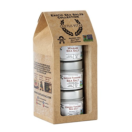 Exotic Sea Salts Gift Collection - Non GMO - 3 Magnetic Tins - Small Batch Artisan Salts -