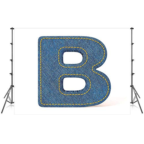 Letter B Stylish Backdrop,Jeans Clothing Retro Fashion Style Alphabet Elements Youth Typography Design Decorative for Photography Festival Decoration,59''W x 39''H