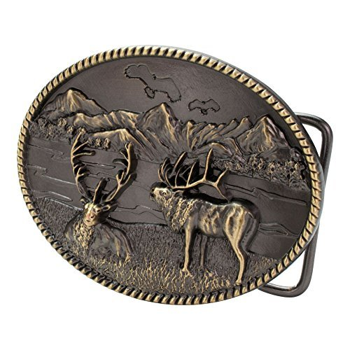 Buckle Rage Mens Mountain Elk Hunting Country Wilderness Oval Belt Buckle Bronze