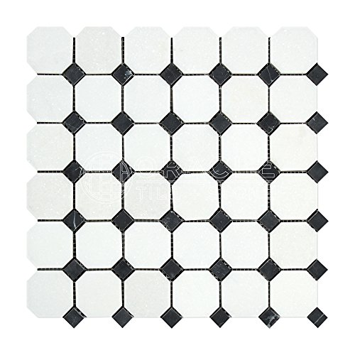 Thassos White Greek Marble Octagon Mosaic Tile with Black Marble Dots, Polished