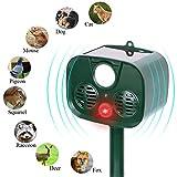 INN Solar Outdoor Pest and Animal Scarer Repeller - Ultrasonic Cat Repellent - Sonic Alarm Farm Garden Yard Pest Control Drive Away Dog, Deer, Goose, Bird and Rabbit - Motion Triggered Detection