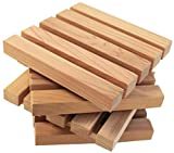 Wood Block Crafts - Natural Cedar Pallet Wood Coaster Set - Rustic Coasters for Drinks - Protects Furniture From Wet Glass Bottle Stains - Cedar Wood Cute Pallet Design - Large 5'' Square - Set Of 4