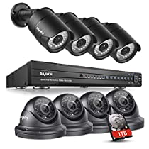 SANNCE 16 Channel DVR 1080P Surveillance CCTV Systems (4) Bullet Cameras and (4) Dome Cameras Motion Detection Alarm & Remote View 100ft Night Vision Outdoor Security Camera System (1TB HDD)