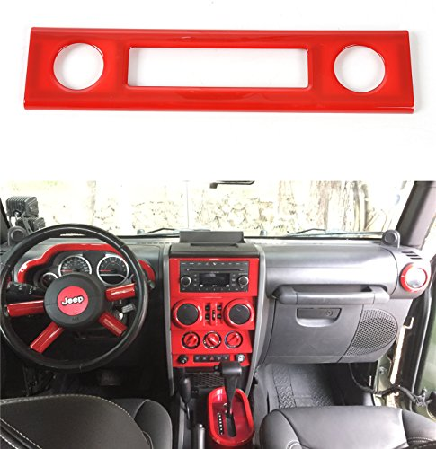 Opar Red Center Dash Accents for 2007 - 2010 Jeep JK Wrangler & Unlimited