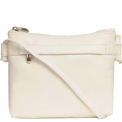 5b4d690932bd Nova Leathers Women s Edith Messenger Handbag One Size White  Handbags   Amazon.com