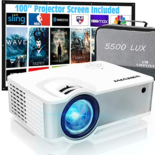 "Mini Outdoor Projector, Wevivi Movies Projector 1080P Supported with Carrying Case & 100"" Projector Screen, 5500Lumens 240"" Display Portable Outdoor Movies Projector,Compatible with HDMI/VGA/USB"