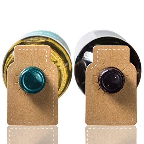 Wine Bottle Tags Kraft Leather Paper - 100 Count - Premium Wine Cellar Labels with Stitched Border by Home Affinity