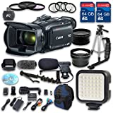 Canon XA30 HD Professional Camcorder + Wideangle Lens + Telephoto Lens + Lens Hood + 2 PC 64 GB Memory Cards + Tripod + LED Light + 3 PC Filter Kit + 4 PC Macrokit - International Version