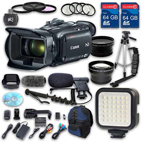 Canon XA30 HD Professional Camcorder + Wideangle Lens + Telephoto Lens + Lens Hood + 2 PC 64 GB Memory Cards + Tripod + LED Light + 3 PC Filter Kit + 4 PC Macrokit - International Version by ALS VARIETY