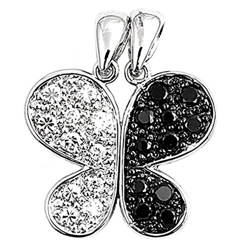 Butterfly Pendant Clear CZ Black CZ .925 Sterling Silver Micro Pave Charm - Silver Jewelry Accessories Key Chain Bracelet Necklace ()