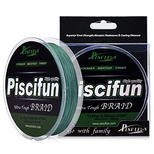 Piscifun PE Braided Fishing Line 150Yd Green 10lb Braid Line