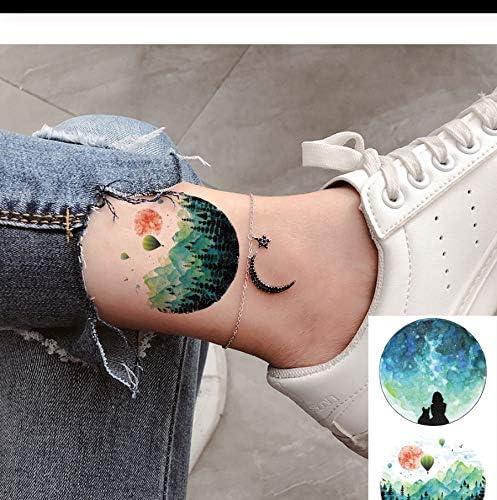 LFVGUIOP 3D Acuarela Hombres Pegatinas de Tatuaje de Luna del ...